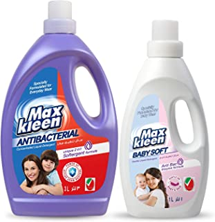 Maxkleen 3L+1L AntiBacterial Liquid Detergent with 2in 1 Softergent Formula and Baby Soft AntiBacterial and Gentle Liquid ...