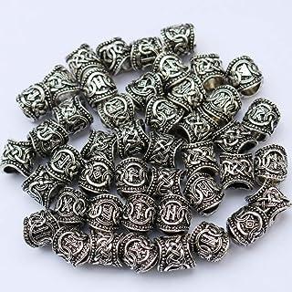 Argent Antique Viking Rune Chaînes Vikings Perles Pour Bracelets Barbe Cheveux Perles
