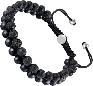 Mens Lava Rock Bracelet, Agate Bead Bracelet for Men Natural Stone Yoga Essential Oil Bracelets for Gift