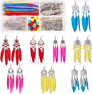 SUNNYCLUE 1 Box DIY 8 Pairs Bohemia Colorful Long Feathers Dangle Hook Earring Making Kit Jewelry Findings Making Crafts for Women Girls, Antique Silver
