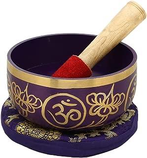 ShalinIndia Sahasrara Violet Buddhist Singing Bowl - Tuned to the 7th Chakra Crown Chakra - Fine Quality Brass - 5 Inches - Ideal for Meditations, Ayurveda & Yoga