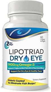 Lipotriad Dry Eye Formula - 1400mg Omega-3 Supplement – With Natural Triglyceride Fish Oil + Organic Flax Seed and Vitamin...