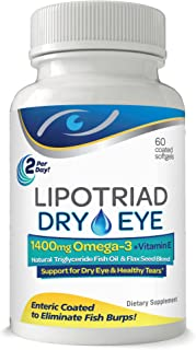 Lipotriad Dry Eye Formula - 1400mg Omega-3 Supplement – With Natural Triglyceride Fish Oil + Organic Flax Seed and Vitamin E - Support for Natural Tear Production - 60 Enteric Coated Softgels