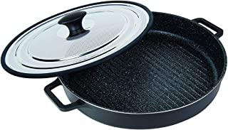 "MasterPan Non-Stick Stovetop Oven Grill Pan with Heat-in Steam-Out Lid, nonstick cookware, 12"", Black,"