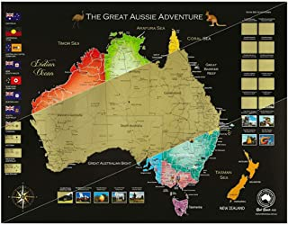 Red Rover Australia Scratch Map - Scratch Off Map of Australia and New Zealand with Scratch Tools and Pouch - 80cm x 62cm