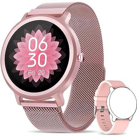 NAIXUES Smartwatch Mujer, Reloj Inteligente IP68 con 24 Modos de Deporte, Pulsómetro, Monitor de Sueño, Notificaciones Inteligentes, 1.28 Inch Pantalla Táctil Completo Smartwatch para Mujer