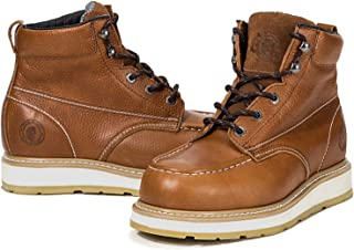 ROCKROOSTER Work Boots for Men, Composite Moc Toe, Non-Slip Safety Shoes, Water Repellent Leather Boot, Arch Support Anti-Fatigue, Poron XRD, Coolmax, EH, Kevlar Anti-Puncture AP828