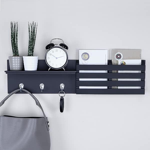 Ballucci Mail Holder And Coat Key Rack Wall Shelf With 3 Hooks 24 X 6 Black
