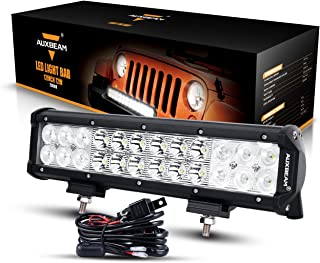 Auxbeam 12 Inch LED Light Bar with Wiring Harness 72W 7200lm Light Bar Combo Beams 24pcs 3W Led Chips Waterproof Led Work Light for Truck Pickup Jeep SUV ATV UTV