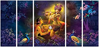 Art Amori Radha enjoy tune of krishna's flute set of 5 MDF PaintingMulticolour 12x18 Inch - 1 Piece + 6x18 Inch-4 pieces f...