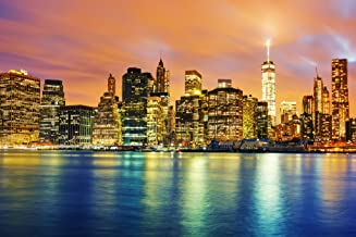 New York City NYC Manhattan Freedom Tower Skyline at Twilight Illuminated Reflecting in River Cool Wall Decor Art Print Poster 18x12