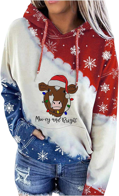 Womens Hooded Sweatshirt Casual Long Sleeve Color Block Christmas Snowflake Graphic Sweatshirts Hoodies Pullover Shirts