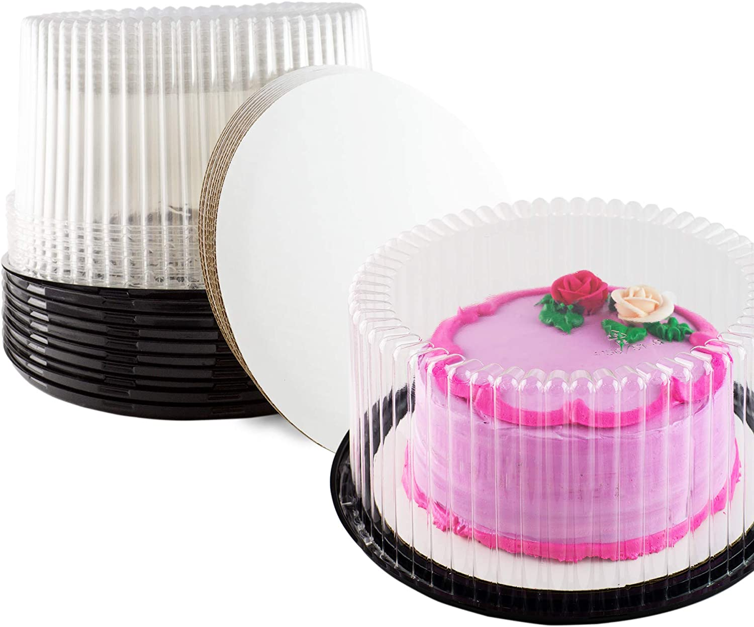 Plastic Cake Container & Board Set By Chefible  Extra-Strong Transparent Round 10  Bakery Display Storage Boxes With Base, Tall Dome Lid & Honeycomb Design + Sturdy 10  Corrugated White Circles