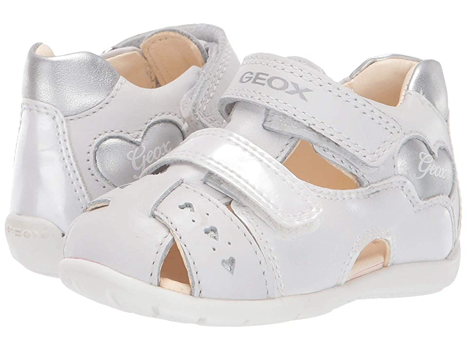 Geox Kids Kaytan Girl 53 (Infant/Toddler) (White/Silver) Girl