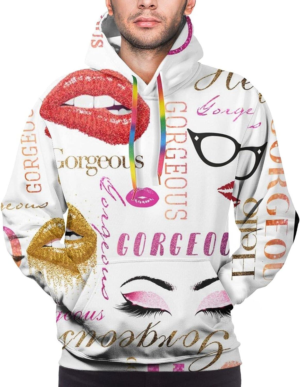 Hoodie For Mens Womens Teens Hello Gorgeous Eyelash Red Lip 3d Printed Hooded Sweatshirt
