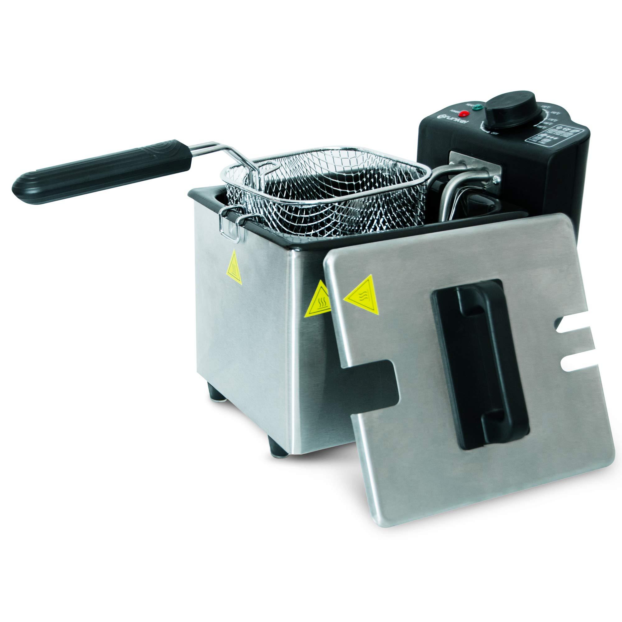 Grunkel - FR-15 DMT - Freidora eléctrica 1,5 litros de Capacidad. Temperatura Ajustable y Filtro antiolores - 1000W - Acero Inoxidable: Amazon.es: Hogar