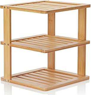 Bamboo Corner Shelf - 3 Tier 10 x 10 inch and 11.5 inches high. Kitchen Cabinet Organizer - Pantry Organization and Storag...