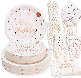 White and Rose Gold Birthday Party Supplise Serve 50 250 Pcs Disposable Birthday Plates and Napkin Sets for Birthday Party...