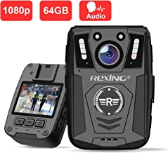 "Rexing P1 Body Worn Camera, 2"" Display 1080p Full HD, 64G Memory,Record Video, Audio & Pictures,Infrared Night Vision,Poli..."