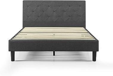 Zinus Upholstered Fabric Queen Bed Frame | Diamond Stitching Head Board, Metal Frame, Wood Slats - Dark Grey
