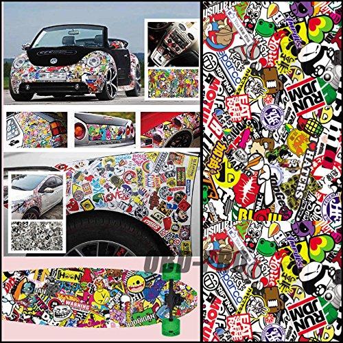 Autool 60'x20' JDM, Car Wrap Sticker Bomb Graffiti dibujos animados para Vehículo portátil de motor DIY