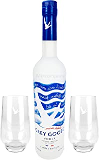 Grey Goose Vodka Wodka Set - Summer Riviera Bottle 2019 Summeredition limited edition 0,7l 700ml 40% Vol  2x Longdrinkgläser Gläser Sommer Party Festival Bar Glas - Enthält Sulfite