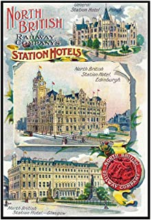 Great Britian - North British Railway Company Station Hotels in Perth, Edinburgh, and Glasgow (22 5/8x36 Framed Gallery Wrapped Stretched Canvas)