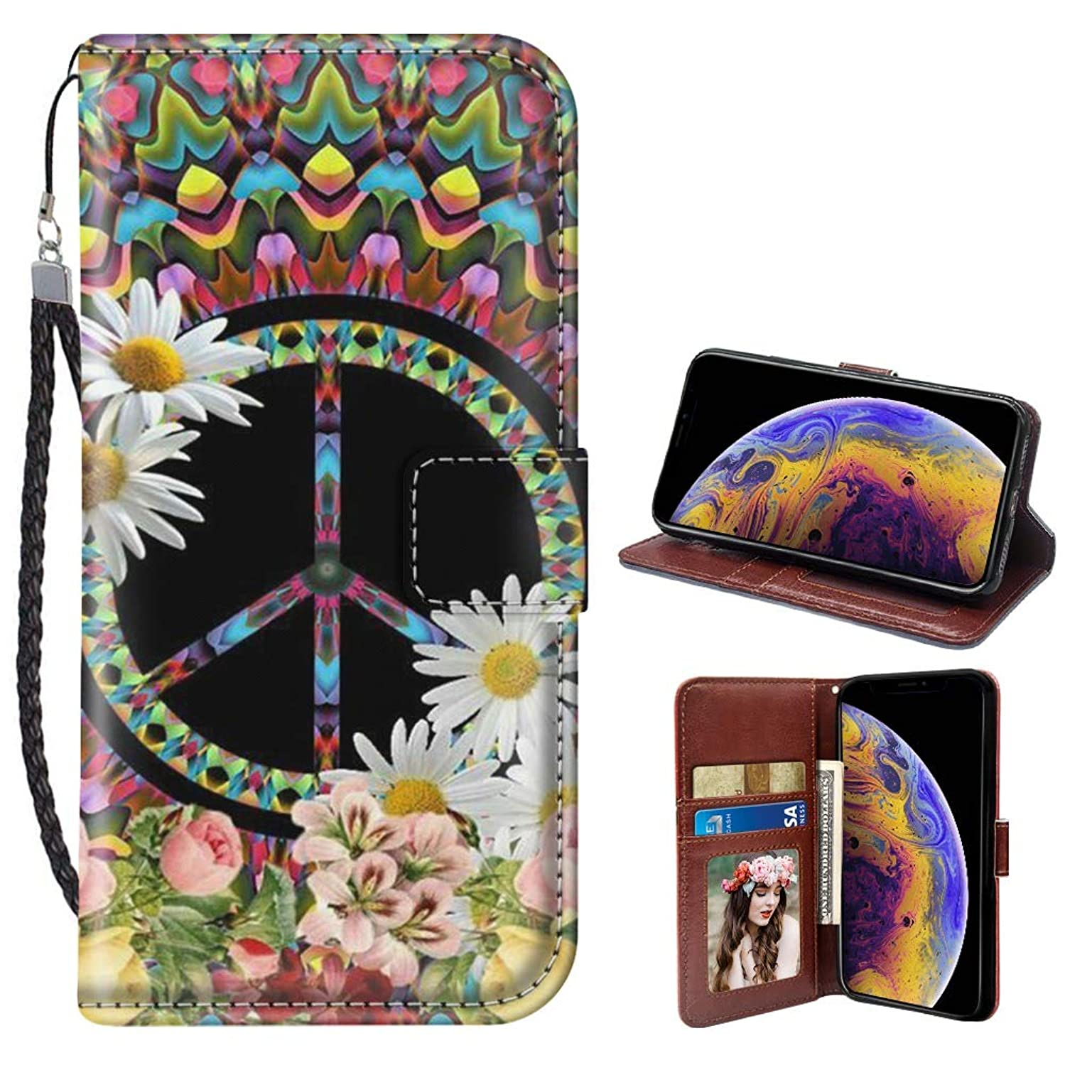 Peace Sign iPhone Xr Wallet Phone Case JQLOVE Apple Series PU Leather Flip Magnetic Clasp with Card Slot Stand Holder Wallet Case for iPhone Xr Peace Sign