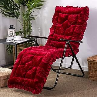 YEARLY Rocking Chair Cushions, Plush Bench Cushion Multifunction Thicken Patio Furniture Sofa Matt mat Wicker Lounge Chair Cushions-Red C 53x163cm(21x64inch)