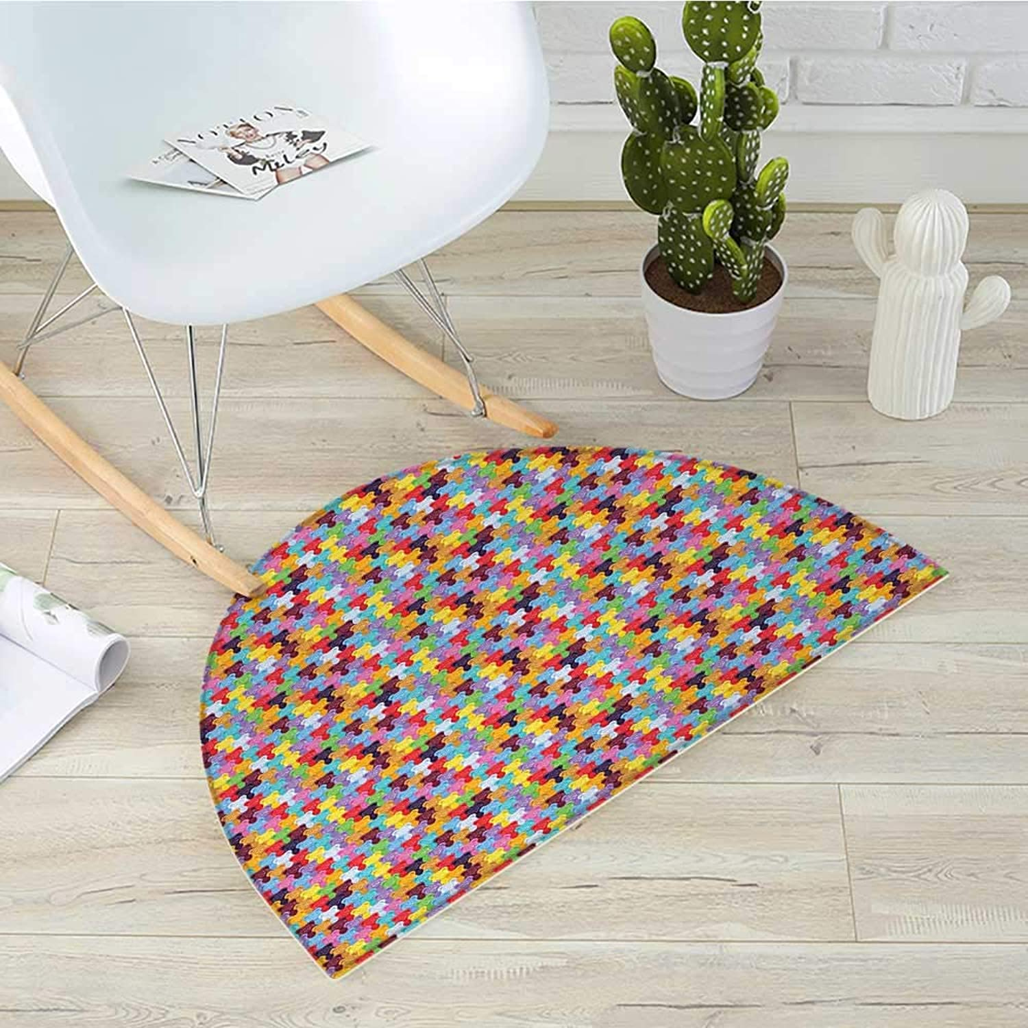 colorful Half Round Door mats Gummy Bears Tile Candies in Different Vibrant colors Sweet Kids Jelly Tasty Snack Bathroom Mat H 39.3  xD 59  Multicolor