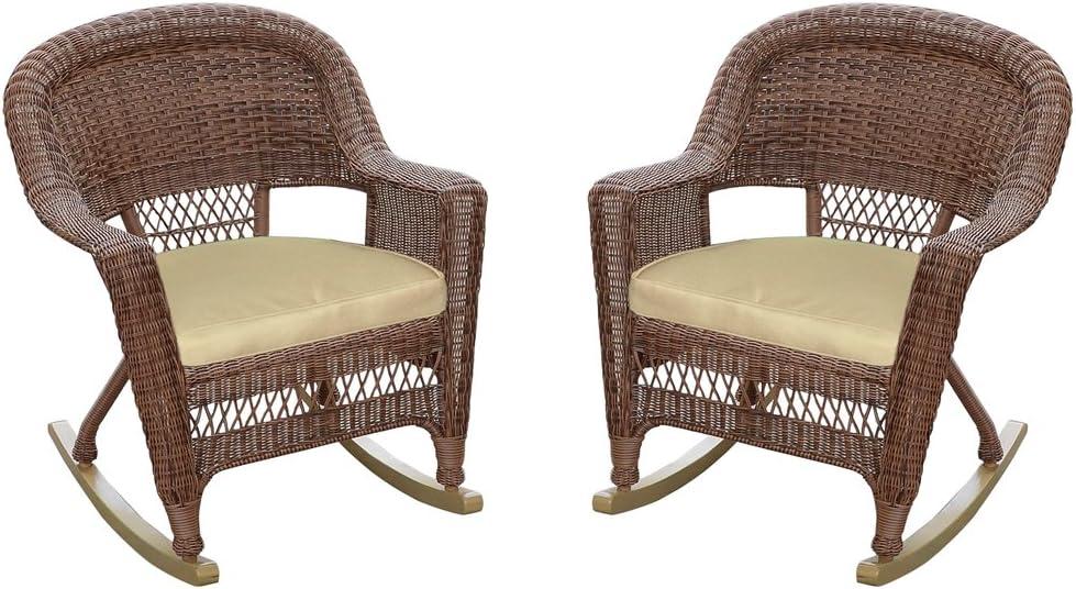 Jeco Rocker Wicker Max 74% OFF Nashville-Davidson Mall Chair with Tan Honey Set of Cushion 2