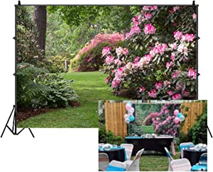 CSFOTO Polyester 5x3ft Spring Garden Backdrop Blooming Flowers Lawn Park Spring Background Wedding Backdrop Outdoor Picnic Decor Banner Adults Kids Photo Wallpaper
