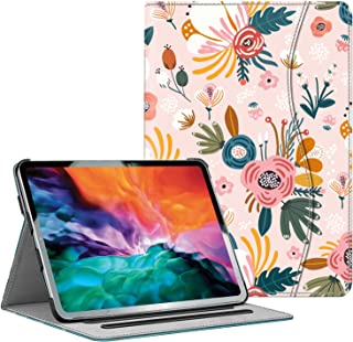 Hi Space iPad Pro 11 inch Case 2021 2020 2018 Pink Flower with Pencil Holder Pocket, Multi-Angle Viewing Folio Stand Leath...