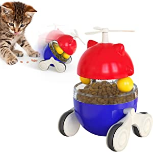 SCNWQ Kitten Toys Interactive Cat Slow Feeder Adjustable Food Dispenser with Two Rolling Balls and Sliding Wheels for Indoor Cats Exercise Anxiety Reliving.