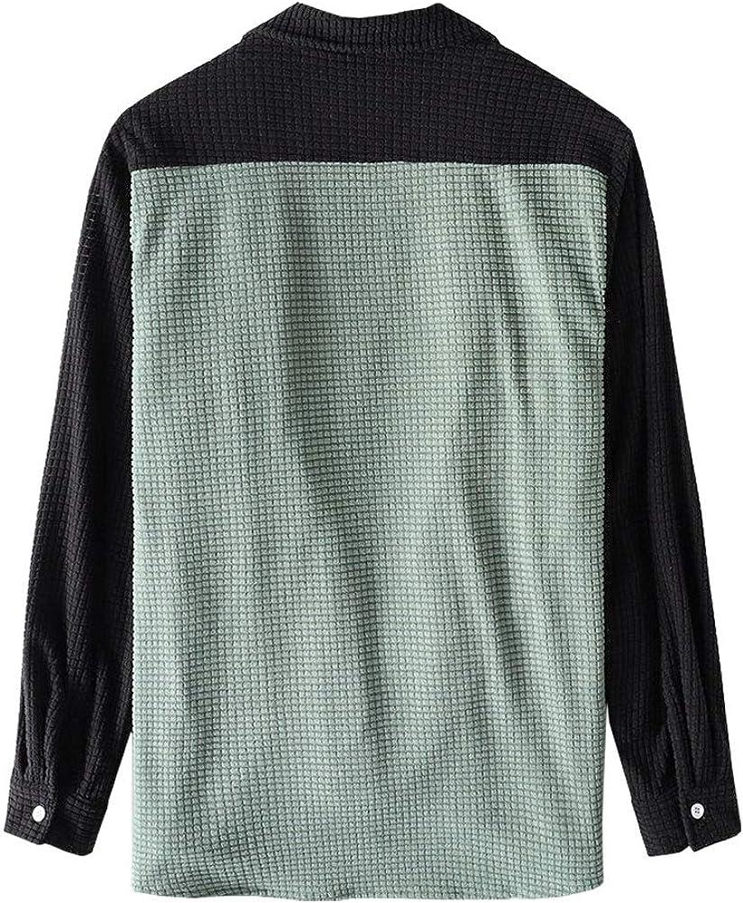 SCOFEEL Casual Patchwork Men's Plaid Shirts Long Sleeve Lightweight Shirt Jackets