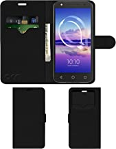 Acm Leather Window Flip Wallet Front & Back Case Compatible with Alcatel U5 Hd Mobile Cover Black