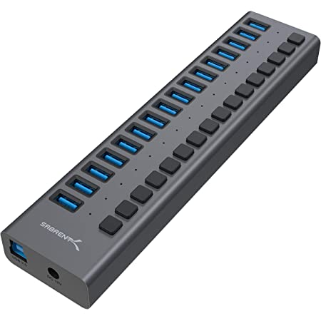 Sabrent 16-Port USB 3.0 Data HUB and Charger with Individual switches [90 Watts] (HB-PU16)