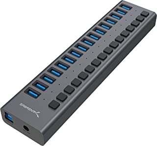 Sabrent USB 3.0 20-Port Aluminum HUB with Power Switches and LEDs, Power Adapter Included (HB-PU16)