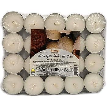 Lumar Aromatic Velas de té aromáticas (Coco Pack 20 Velas): Amazon ...