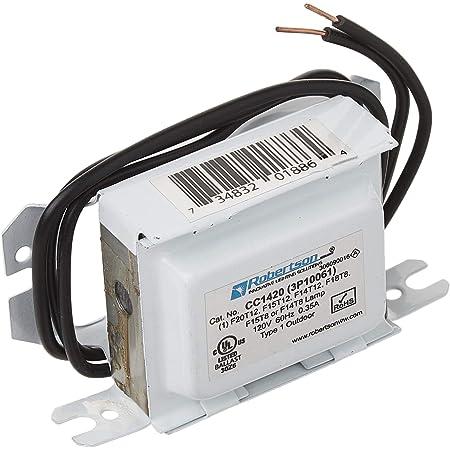 ROBERTSON 3P10061 CC1420 AM Fluorescent mBallast, Preheat Start, 120Vac, 60Hz, Normal Ballast Factor, NPF; Operates the following lamps 1 F14T8, F15T8, F14T12, F15T12, F20T12, (Replaces Model CC1420 /A)