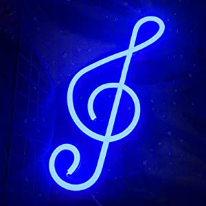 Music Note Neon Sign for Wall Decor, Cisteen Led Neon Light Wall Sign Hanging Art Light Children Light for Kids' Bedroom, Baby Nursery Room, Party, Christmas (USB Charging/Battery Powered) (Blue)