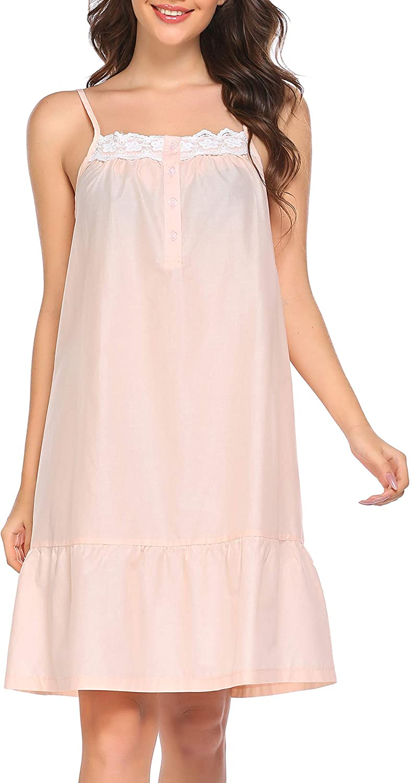 Ekouaer Sleepwear Sleeveless Nightgown for Women Cotton Sleep Dress Victorian Sleepshirt Strap Gown S-XXL
