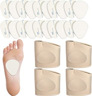 20 Pieces 1/4 Inch Thick Felt Metatarsal Pads and 4 Pieces Metatarsal Sleeves with Gel Pads Ball of Foot Cushions Support ...