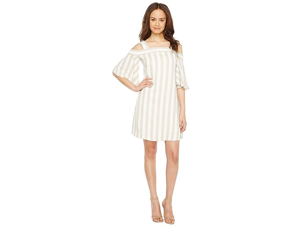 Taylor Striped Cold Shoulder Trapeze Dress (Ecru/White) Women