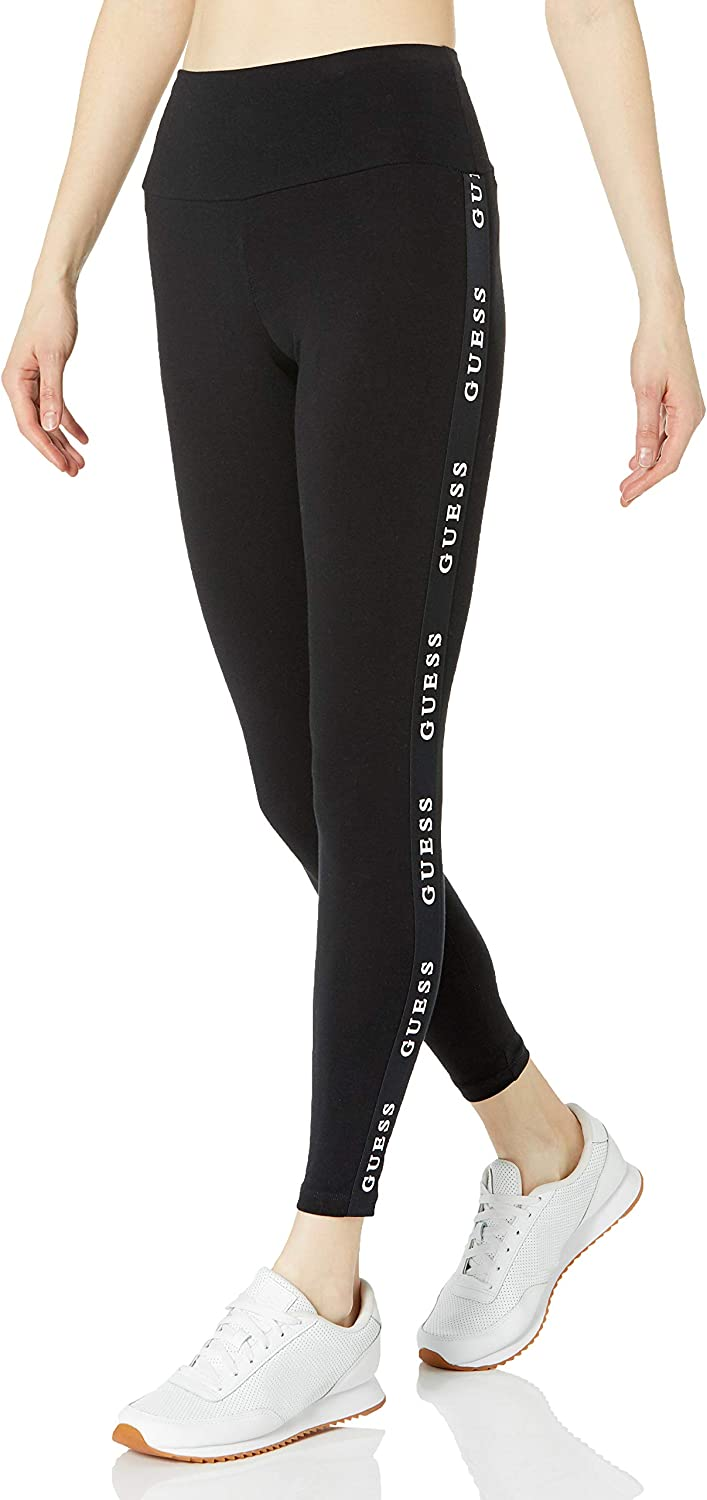 GUESS Women's Active Stretch Jersey Logo Tapping Leggings