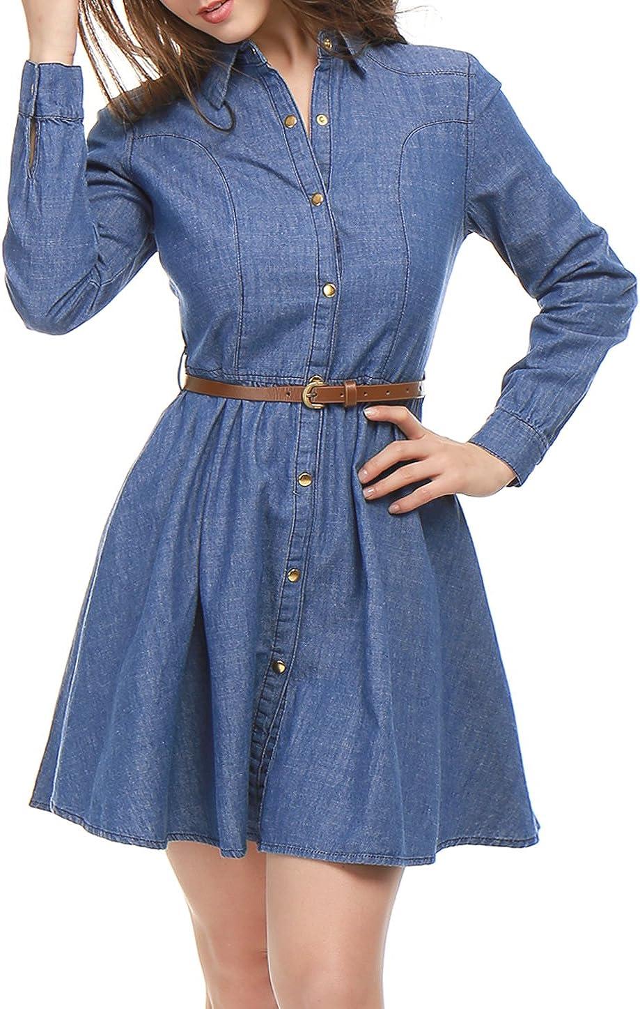 Allegra K Women's Denim Belted Shirt Knee Flared Recommendation Dress Max 48% OFF Above