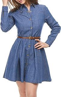 Allegra K Women's Long-Sleeves Belted Flared Above Knee Denim Shirt Dress