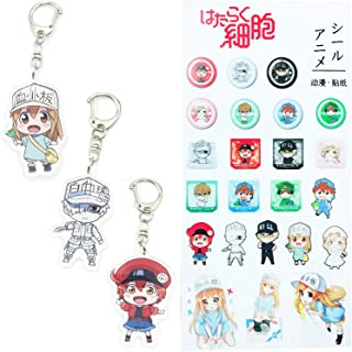 3 Pack Anime Keychain Cell at Work Keychains Cute Acrylic Key Ring White Blood Cell/Platelet/Erythrocyte Action Figure - 1 Sheet Cell at Work Sticker Included