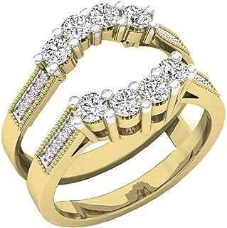 Dazzlingrock Collection 0.85 Carat (Ctw) 14K Gold Round Cut White Diamond Ladies Wedding 5 Stone Enhancer Double Ring