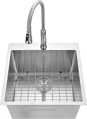 Starstar Drop-in Topmount 304 Stainless Steel Single Bowl Bar/Kitchen/Laundry/Yard/Office Sink (22 x 22 x 12-With Grid)